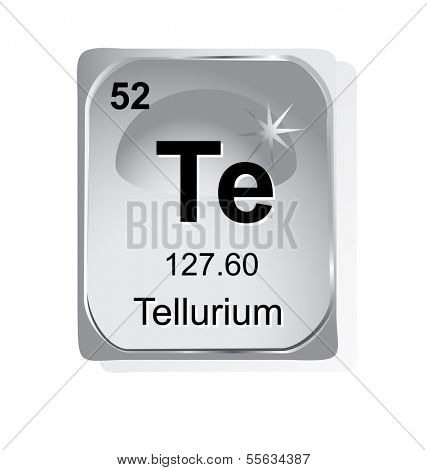 Tellurium chemical element with atomic number, symbol and weight