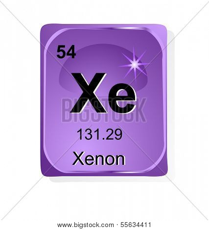 Xenon  chemical element with atomic number, symbol and weight