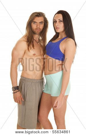 Couple Fitness Together Both Looking