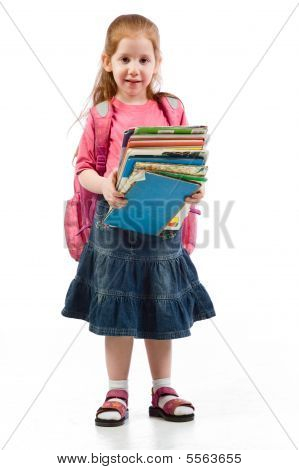 Elementary Age Girl Stressed By Educational Books