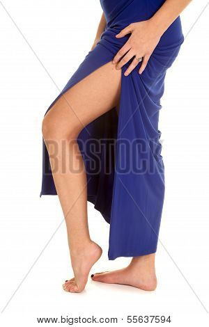 Woman Legs Blue Dress Hand