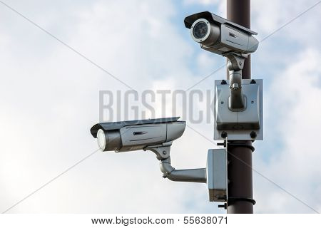 Security Camera CCTV with blue sky