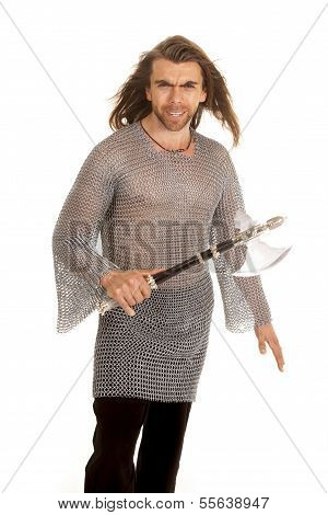 Man Chain Mail Axe Hold In Front