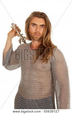 Man Chain Mail Sword Behind Back