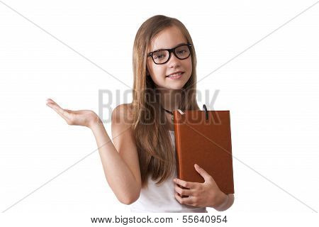 girl with notebook and hand on white background