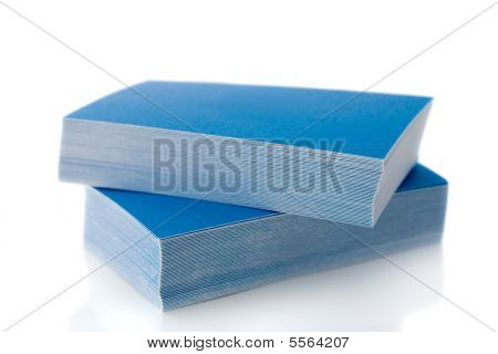 Pile Of Blue Business Cards