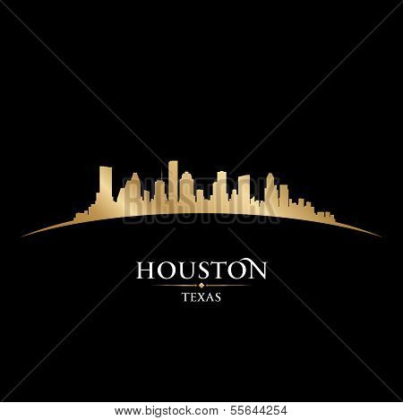 Houston Texas City Skyline Silhouette Black Background