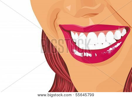 Illustration of a dazzling smile of the girl on a white background