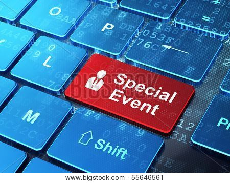 Finance concept: Business Man and Special Event on computer keyboard background
