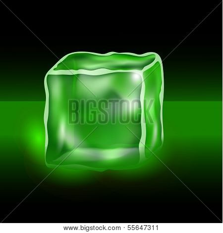 green cubes on a black background
