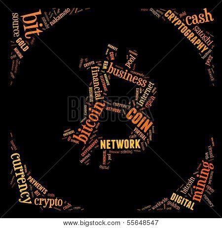 Bitcoin Logo Word Cloud With Orange Wordings