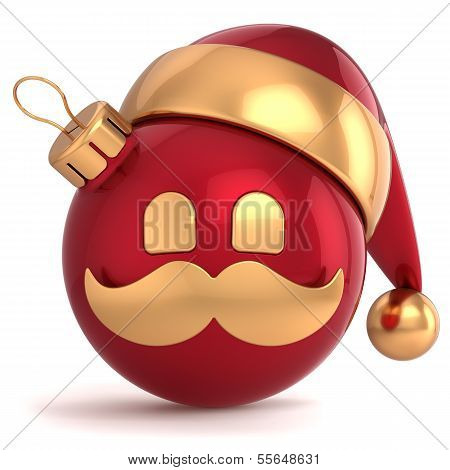 Christmas ball avatar Santa Claus hat ornament New Year bauble red gold decoration