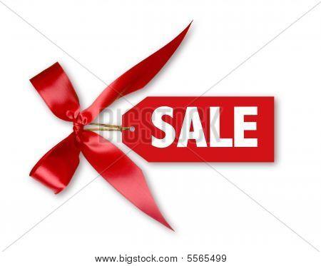 Sales-Tag mit big Red Ribbon Bow gebunden