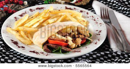 Shawarma or gyros sandwich