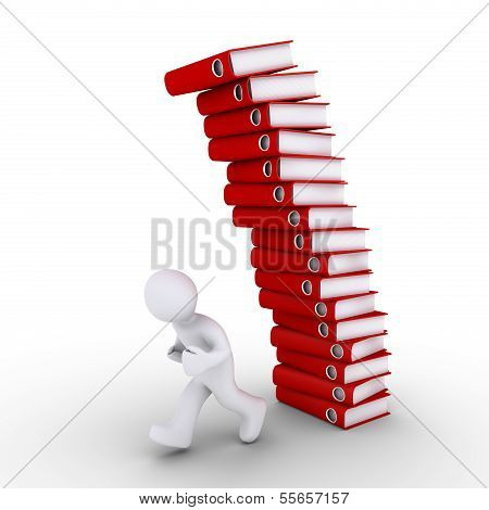 Person Is Avoiding A Falling Pile Of Folders