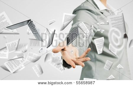 Businesswoman, secretary throwing devices. Office life concept