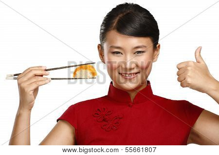 Chinese Woman Showing Asian Food Using Chopstick