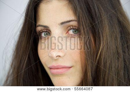 Closeup Of Woman Without Makeup