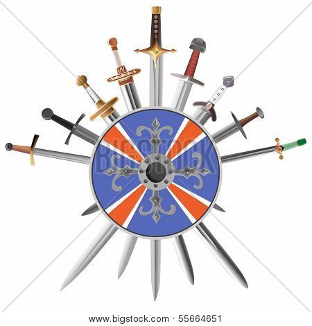 Swords Cross Crosswise And Shields.