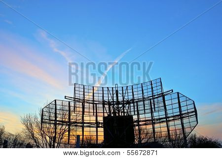 Antennae With Sky Under Sunset