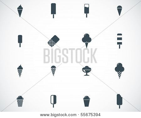 Vector black ice cream icons set