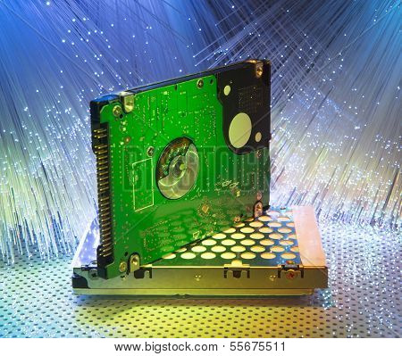 harddisk with fiber optical background
