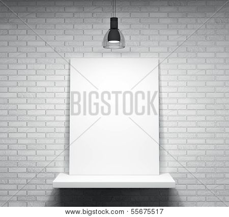 Poster On The Shelf Over The Brick Wall