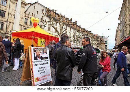 People talk about politic in Geneva, Switzerland.