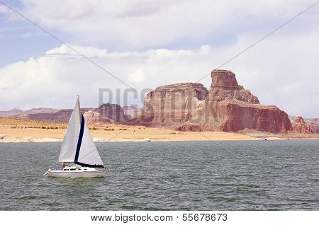 Sailboat Floating In Lake Powell