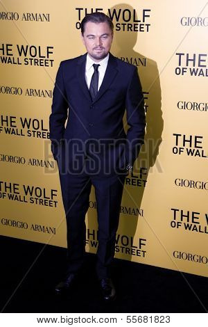 """NEW YORK-DEC 17: Actor Leonardo DiCaprio attends the """"Wolf of Wall Street"""" premiere at the Ziegfeld Theatre on December 17, 2013 in New York City."""