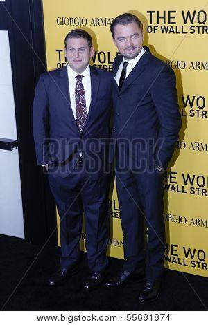 NEW YORK-DEC 17: Actor Leonardo DiCaprio (R) and Jonah Hill attend the