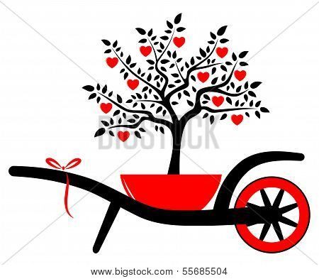 Wheel Barrow And Heart Tree