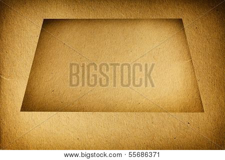 Closeup Empty Brown Cardboard Blank With Frame Texture Background