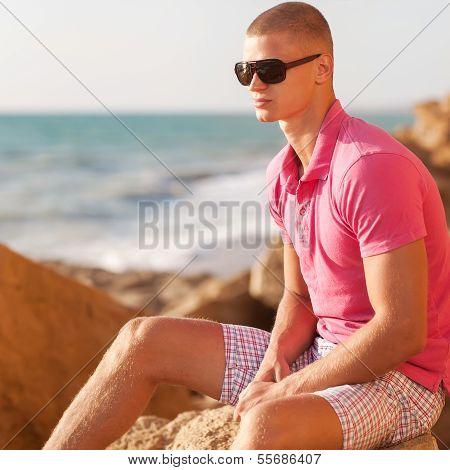 Fashion Man On The Beach