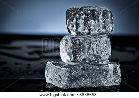 Three Stacked Ice Cubes