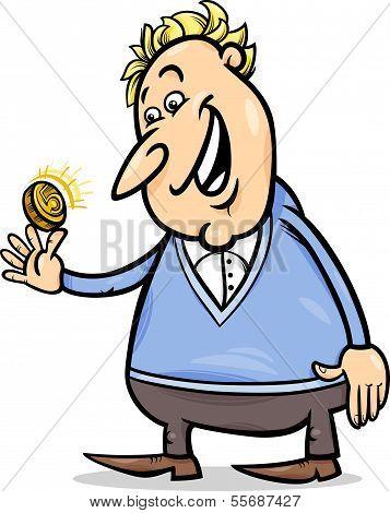 Lucky Man With Golden Coin Cartoon