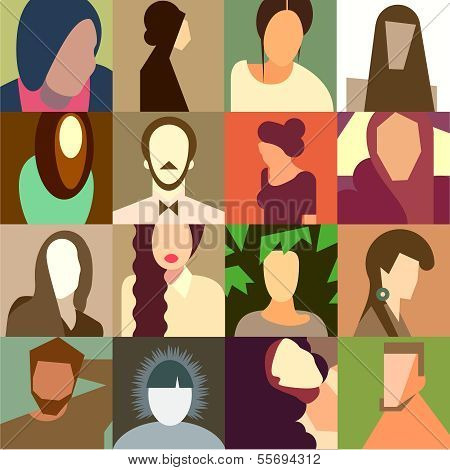 Set of various avatar faces