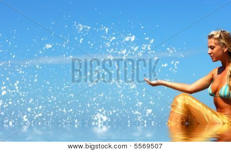 Blonde Mermaid With Splashes All Around