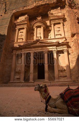 Treasury At City Of Petra With Perfect Light And Shadows, Jordan
