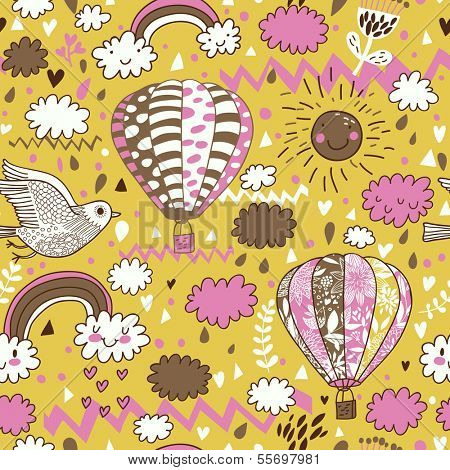 Cute seamless texture with hot air balloons, bird and clouds. Seamless pattern can be used for wallpaper, pattern fills, web page background,surface textures. Gorgeous seamless gentle background