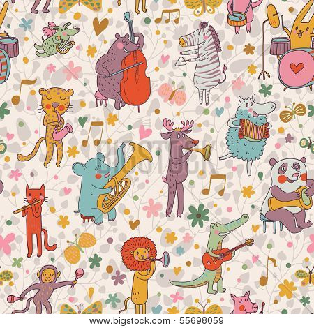 Cute animals in vector: lion, leopard, elephant, pig, cat, dog, panda, bear, elk, alligator, monkey, sheep, rabbit and zebra in cartoon seamless pattern