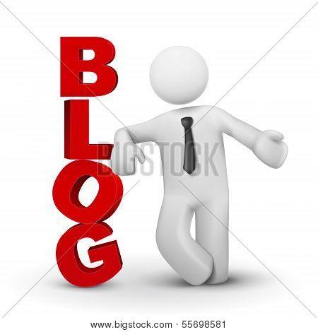 3D Business Man Presenting Word Blog Concept
