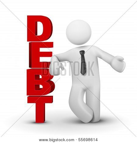 3D Businessman Presenting Concept Word Debt