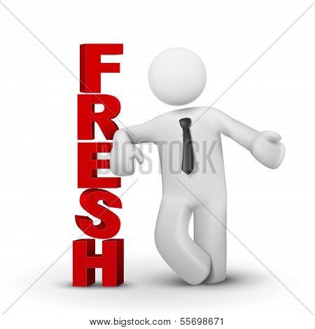 3D Business Man Presenting Word Fresh