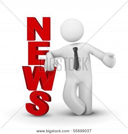 3D Businessman Presenting Concept Word News