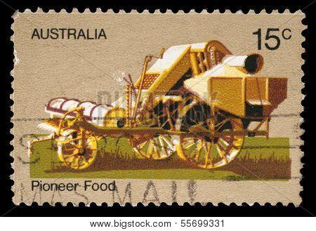 AUSTRALIA - CIRCA 1972: A stamp printed by Australia honoring Australian Pioneer Life shows Horse thresher, circa 1972