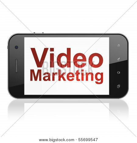 Finance concept: Video Marketing on smartphone
