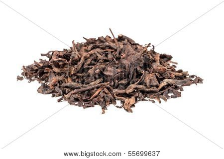 Pu-erh. Chinese Dark Tea Isolated On White Background