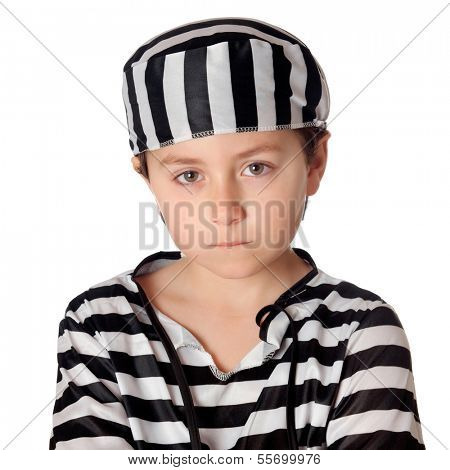 Sad child with with striped prisoner costume isolated on a white background