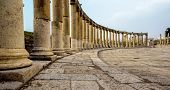 pic of ancient civilization  - Romand and Ancient Greek typical columns in Rome City of Jerash in Jordan - JPG